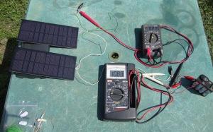Solar panels charging the 9.6V pack